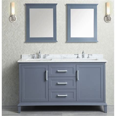 mirrored framed mirror ace 60 inch sink whale grey bathroom vanity set