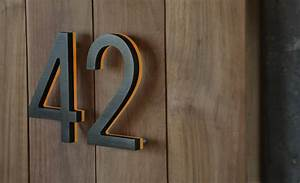 luxello modern bronze house numbers illuminated With mid century modern house numbers and letters
