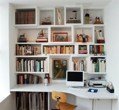office desk with bookcase and shelving save space how to combine shelves and desk properly
