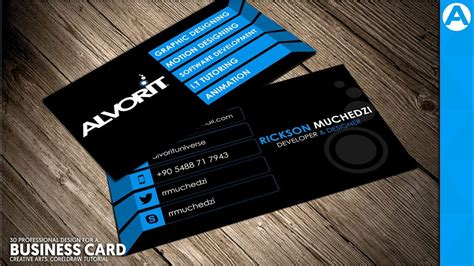 professional business card design blue  project