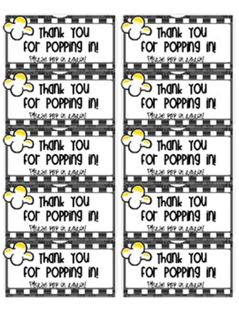 popping  popcorn labels open house