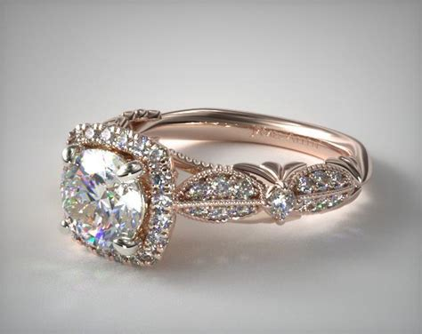 pave arch diamond engagement ring 14k rose gold 17432r14