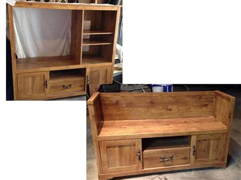 convert tv cabinet to play kitchen entertainment center converted to bench seat 9457