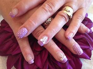 Pink And Gold Acrylic Nail Designs With Bows, Luminous ...