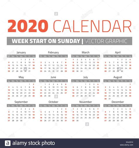 einfache jahr kalender wochen sonntag vektor abbildung bild