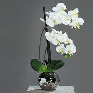 Kunstblumen Orchideen Topf : orchidee phalaenopsis im silbernen keramiktopf fresh crem ~ Whattoseeinmadrid.com Haus und Dekorationen