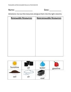 renewable and non renewable energy worksheet renewable and nonrenewable resources worksheet set by erin