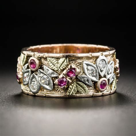 vintage ruby  diamond wedding band size