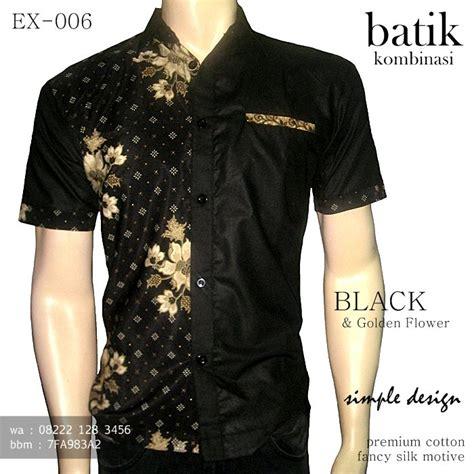 kemeja batik kombinasi polos warna hitam seragam batik