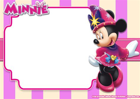 printable minnie mouse pink invitation templates