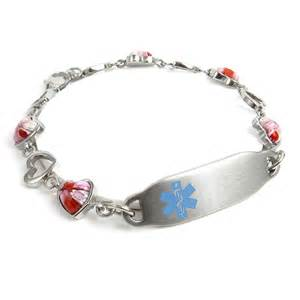 Myiddr - Pre-engraved & Customized Epilepsy Id Bracelet, Pink Millefiori Glass Hearts