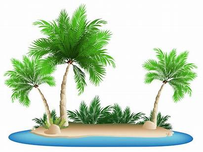 Palm Island Clipart Trees Vacation Transparent Previous