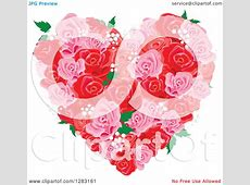 Clipart of a Pink and Red Floral Rose and Babys Breath