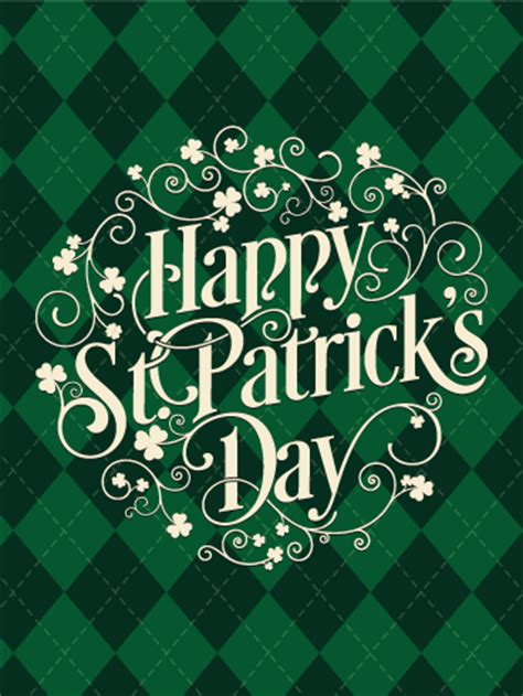 green argyle st patricks day card birthday greeting