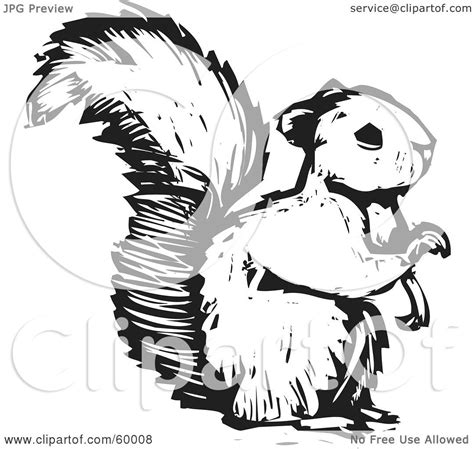 royalty free rf clipart illustration of a black and white squirrel holding one paw up by