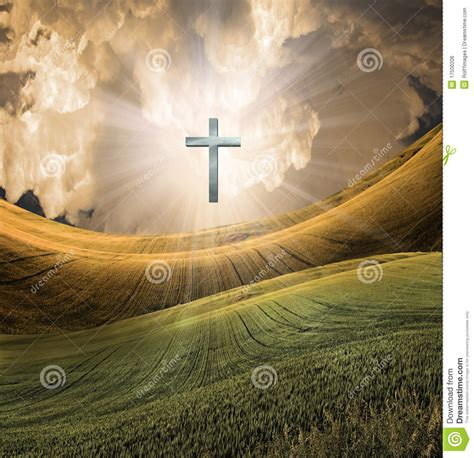 cross radiates light  sky royalty  stock image