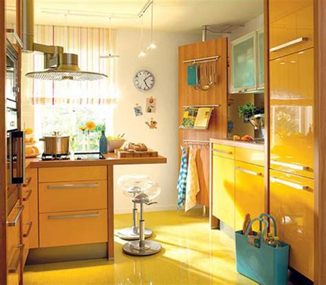 Kitchen Ideas With Black Appliances - yellow and turquoise color combination for small kitchen design