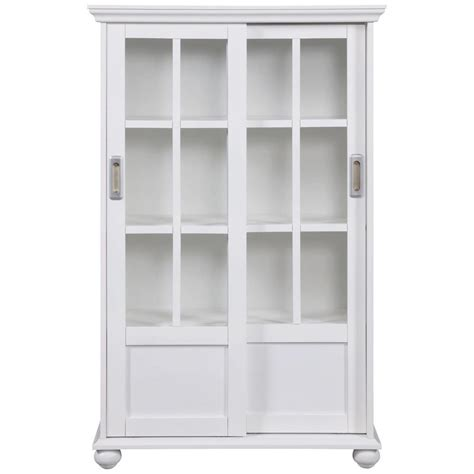 Bookcase Glass Door by Ameriwood Home Abel Place White Glass Door Bookcase