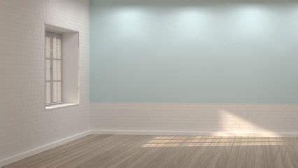 empty room  illustration clean white  blue wall