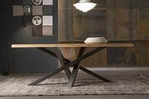Table Pied Croisé : table manger en bois naturel pieds crois s en acier de ~ Teatrodelosmanantiales.com Idées de Décoration