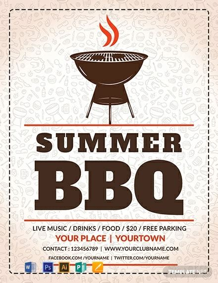 summer bbq flyer template word psd apple pages