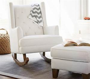 Modern Tufted Nursery Rockers And Gliders With Wingback In