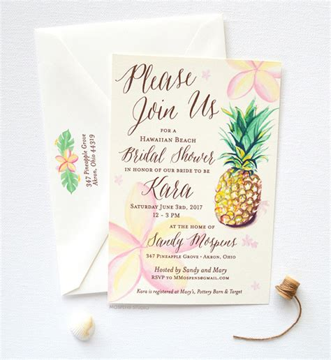 tropical themed bridal shower invitations ideas