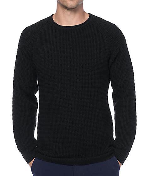 black sweater ninth commando black waffle knit sweater