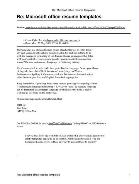 microsoft office resume template microsoft office resume