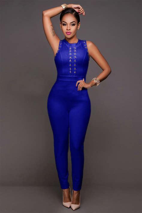 blue jumpsuit womens stunning blue bandage jumpsuit charming wear