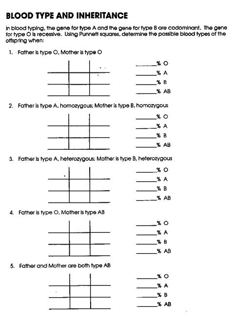 16 best images of blood type worksheet answer key codominance worksheet blood types blood