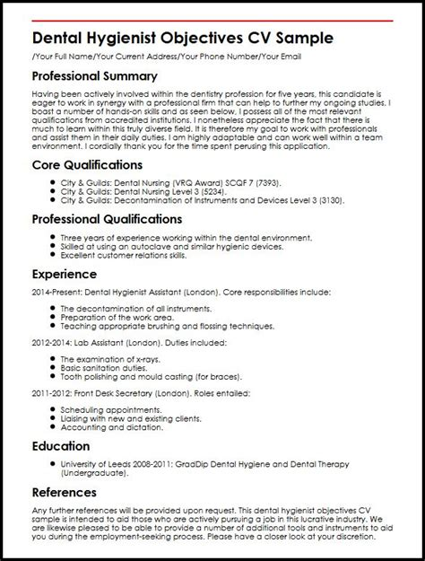 Does A Curriculum Vitae An Objective by Dental Hygienist Objectives Cv Sle Myperfectcv