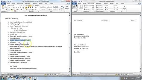 microsoft word full block business letter notes  youtube