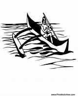Canoe Outrigger Coloring Boat Float Support sketch template