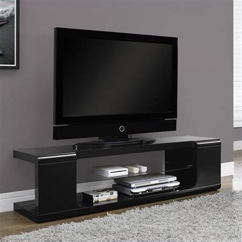60 tv stand in black finish with 2 tempered glass shelves