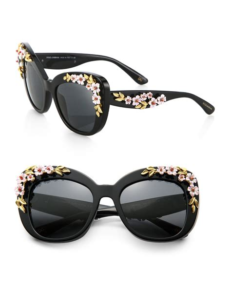 lyst dolce gabbana rose cats eye sunglasses  black