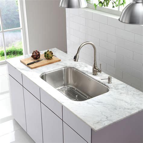 stainless steel single bowl undermount kitchen sink kraus stainless steel 16 gauge undermount 31 5 quot single