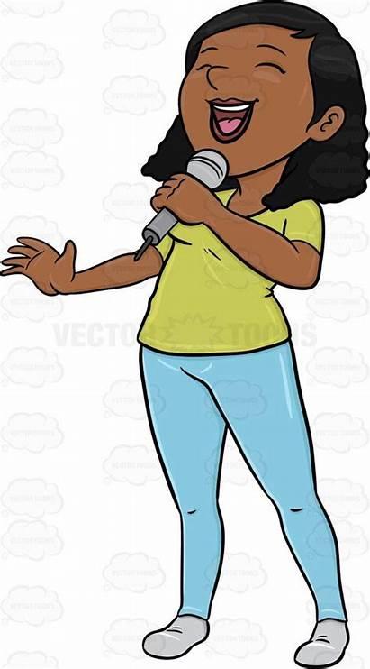 Clipart Cartoon Singer Sing Microphone Song Singing