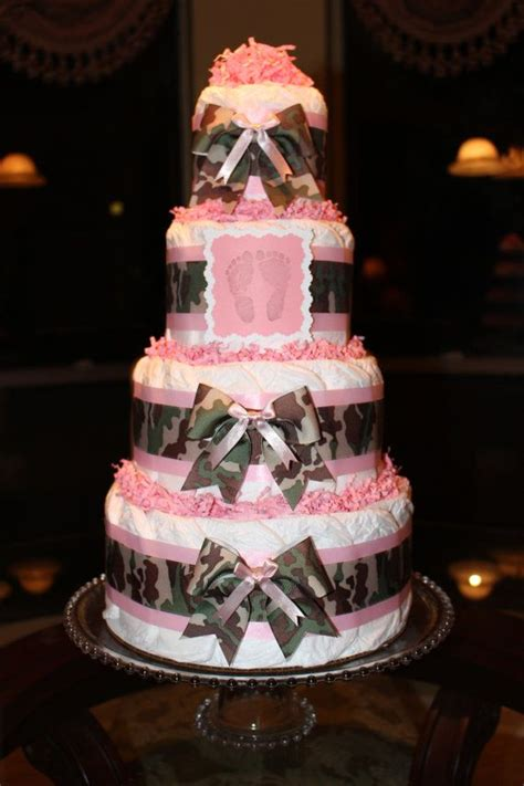 tier camouflage camo pink diaper cake