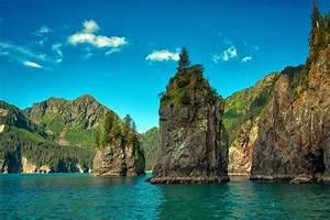 Usa, Rivers, Mountains, Sky, Crag, Kenai, Fjords, National