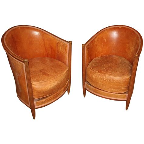 pair of deco leather club chairs at 1stdibs