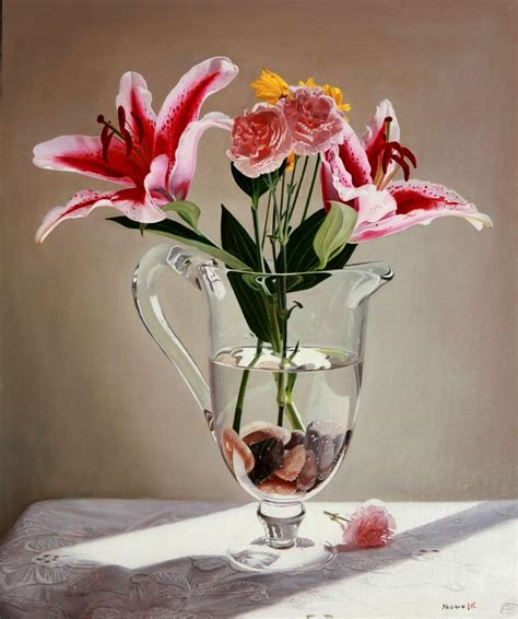 flowers in a vase yaowu zhang s painting gallery