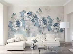 Wallpaper For Bedroom Walls Light Blue Elegant 3d Flower