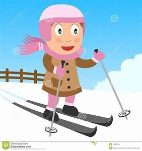 Skifahren-Mädchen im Park vektor abbildung. Bild von ...