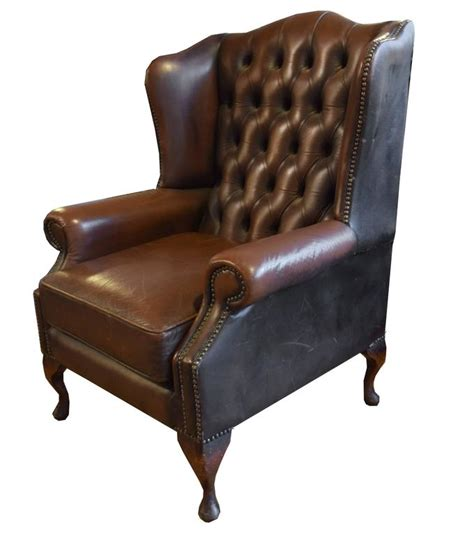 tufted leather wing chair for sale at 1stdibs