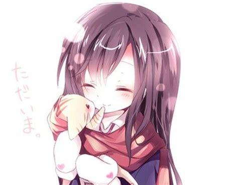 kawaii cute  anime girl  black hair holding