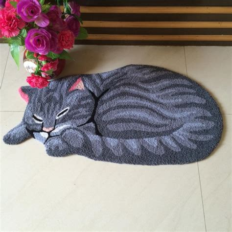 high quality handmade cat shape washable carpet  cat
