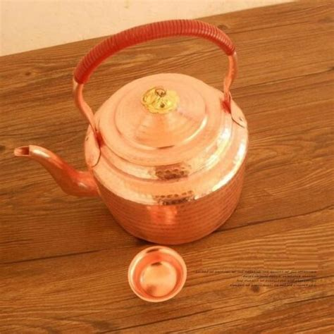 home garden pure copper water kettle teapot handmade purple handle  lid thick gift