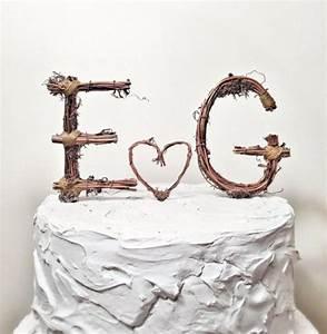 rustic monogram wedding cake topper personalized any two With rustic wedding cake toppers letters
