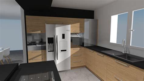cuisine noir et bois chambre gris et pale